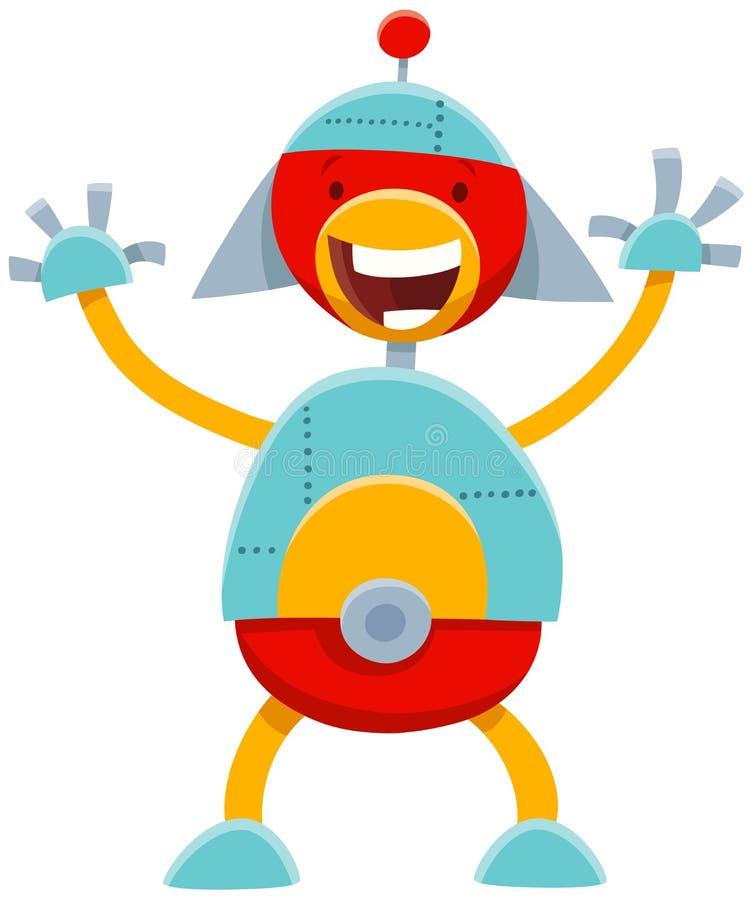 Roligt komiskt tecken för tecknad filmrobot stock illustrationer