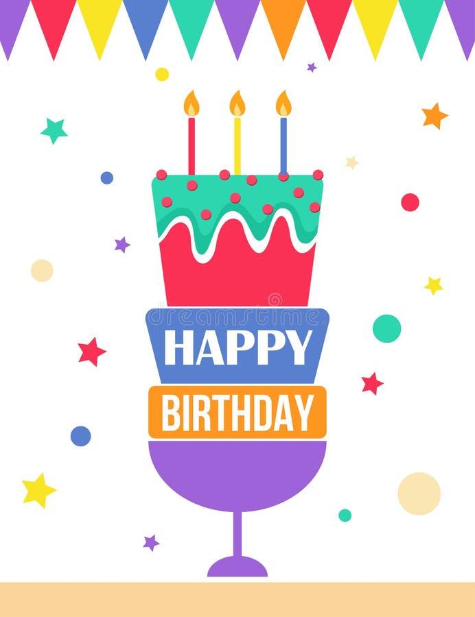 Roligt kort för lycklig födelsedag med buntings och kakan vektor illustrationer