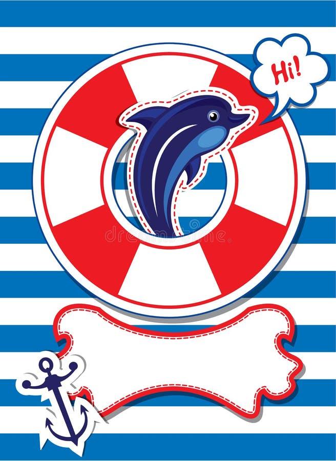 Roligt kort med delfin, ankaret, livboj och empt stock illustrationer