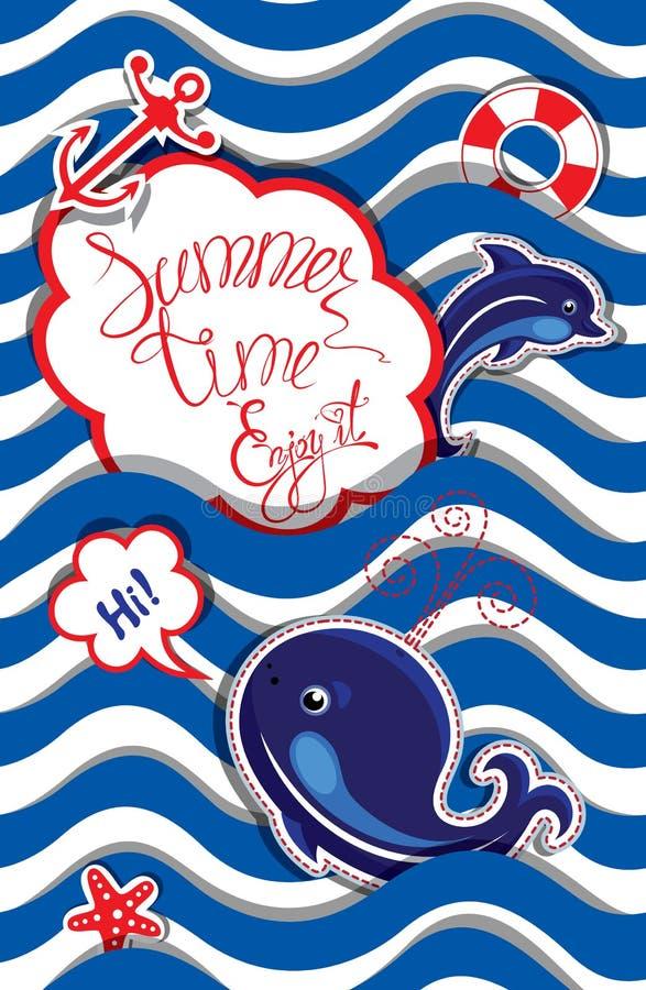 Roligt kort med det blåa valet och delfin på randig bakgrund ro royaltyfri illustrationer