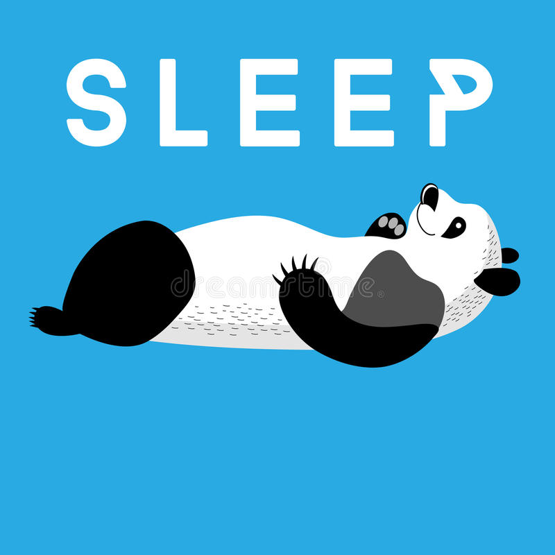 Roligt kort med sova för panda royaltyfri illustrationer