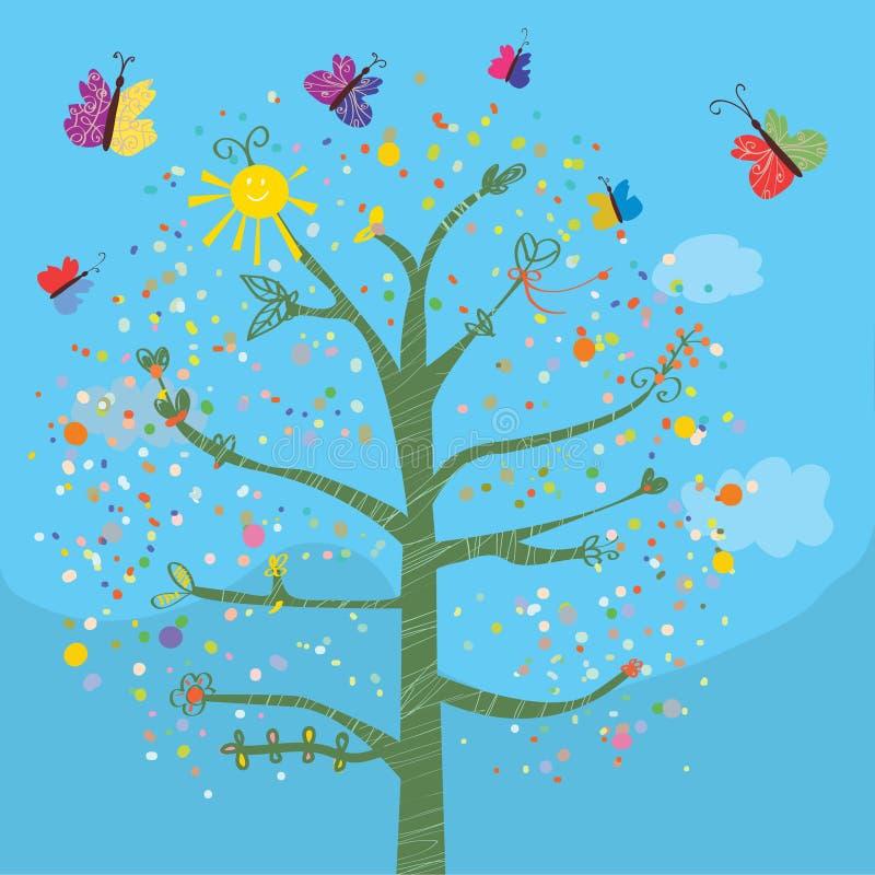 Roligt kort med trädet och fjärilar vektor illustrationer