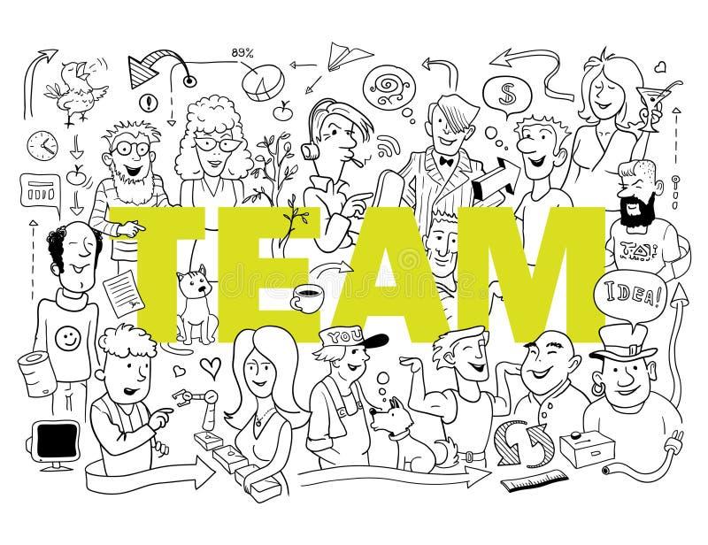 roligt lag Grupp av roligt folk i klotterstil stock illustrationer