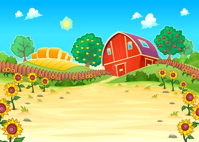 Roligt landskap med lantgården och solrosorna royaltyfri illustrationer