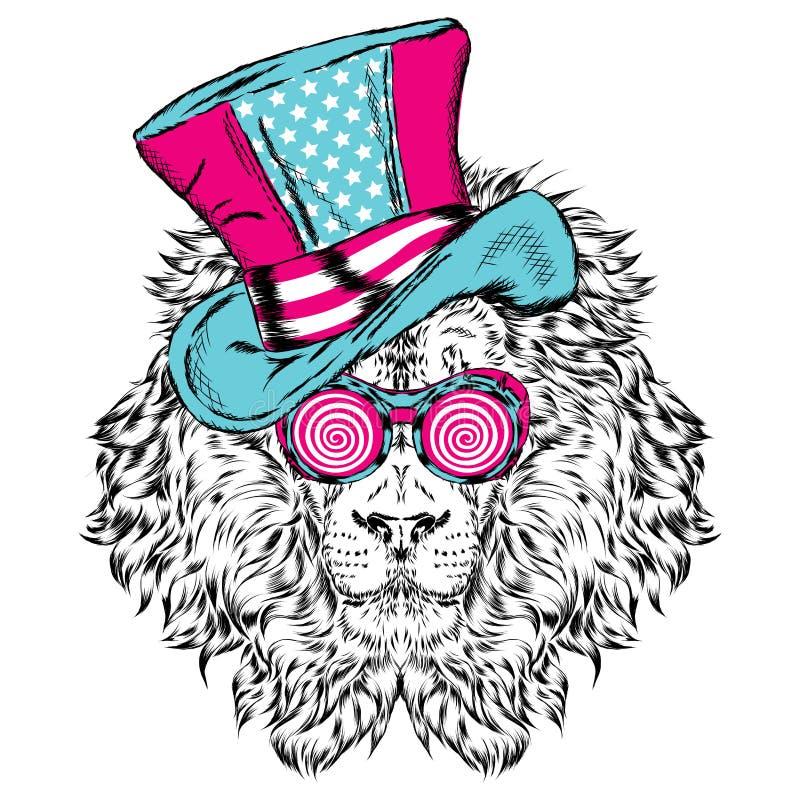 Roligt lejon i en ovanlig hatt också vektor för coreldrawillustration royaltyfri illustrationer