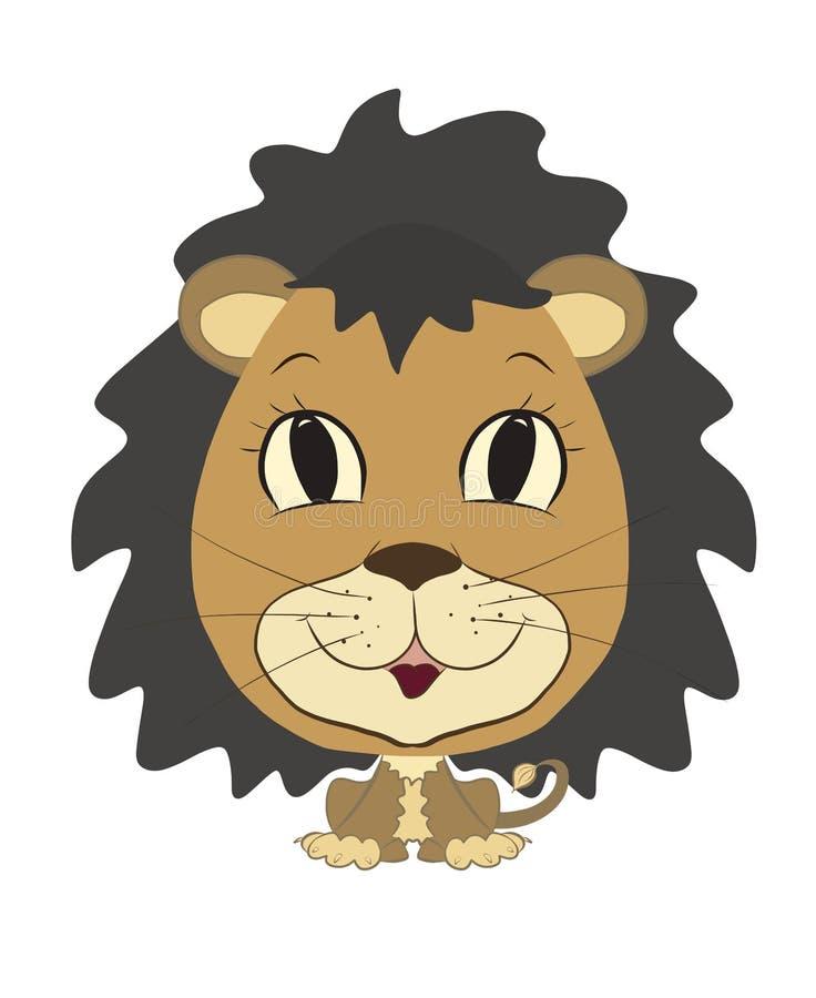 Roligt lejon med en frodig man och ett äggformat huvud royaltyfri illustrationer