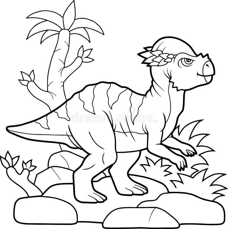 Roligt litet gå för dinosaurie stock illustrationer