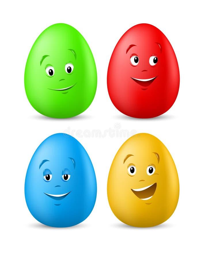 roligt lyckligt för färgade easter äggframsidor stock illustrationer