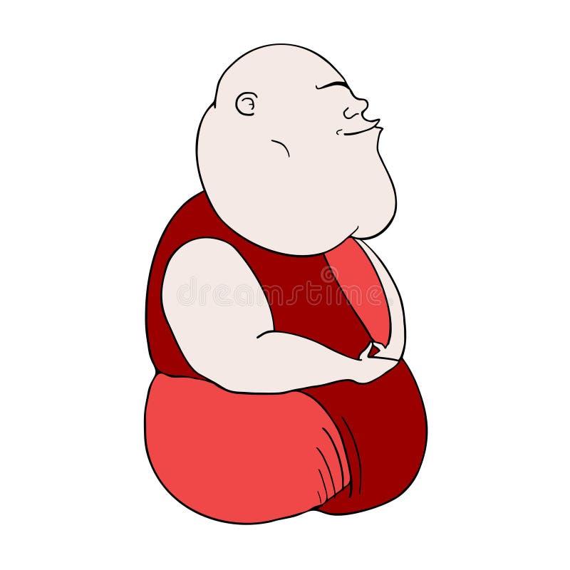 Roligt meditera för man royaltyfri illustrationer