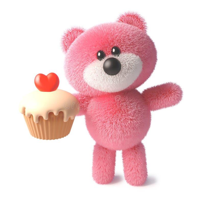 Roligt mjukt rosa fluffigt tecken för nallebjörn som äter en läcker muffin med en röd hjärtagelé, illustration 3d stock illustrationer