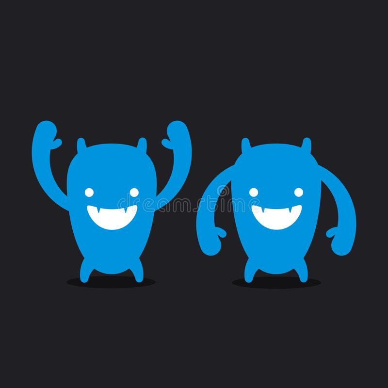 Roligt monster för logo, gigantiskt huvud royaltyfri illustrationer