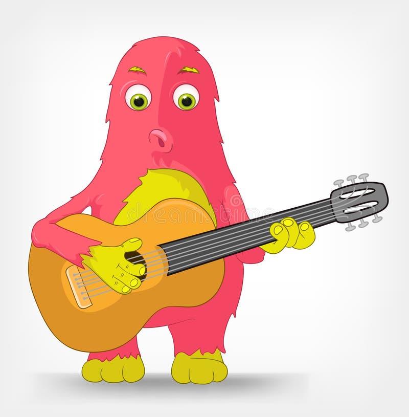 Roligt monster. Gitarrist. stock illustrationer
