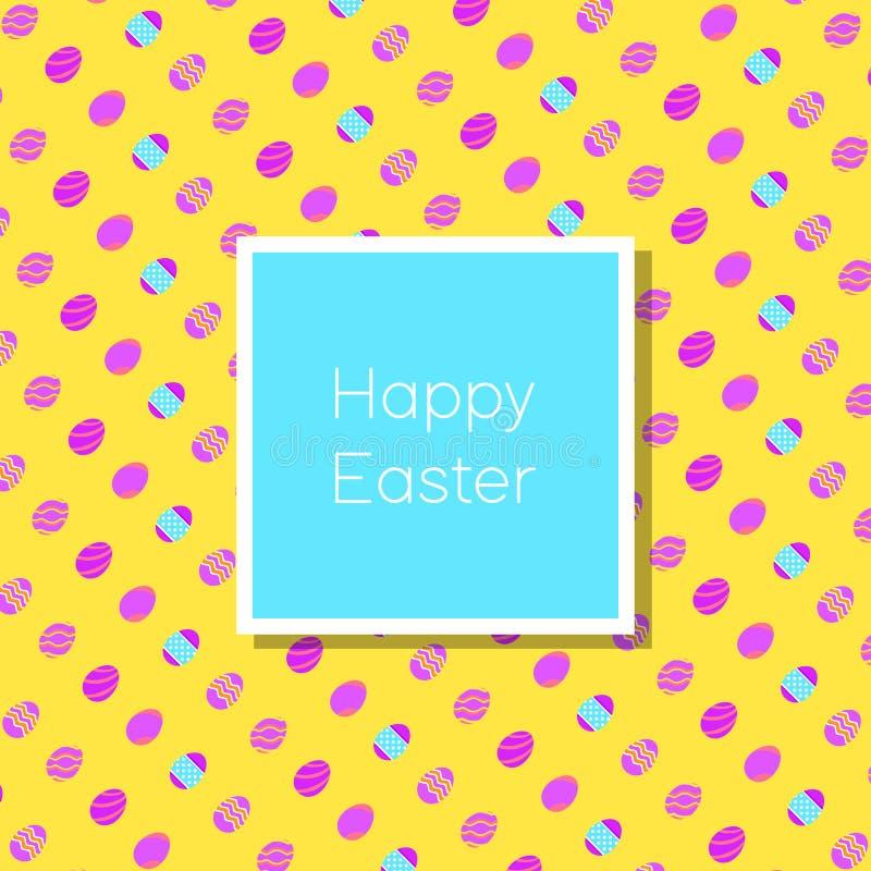 Roligt och färgrikt lyckligt påskhälsningkort med kanin, kaninillustrationen, ägg, banret, flaggan och text stock illustrationer