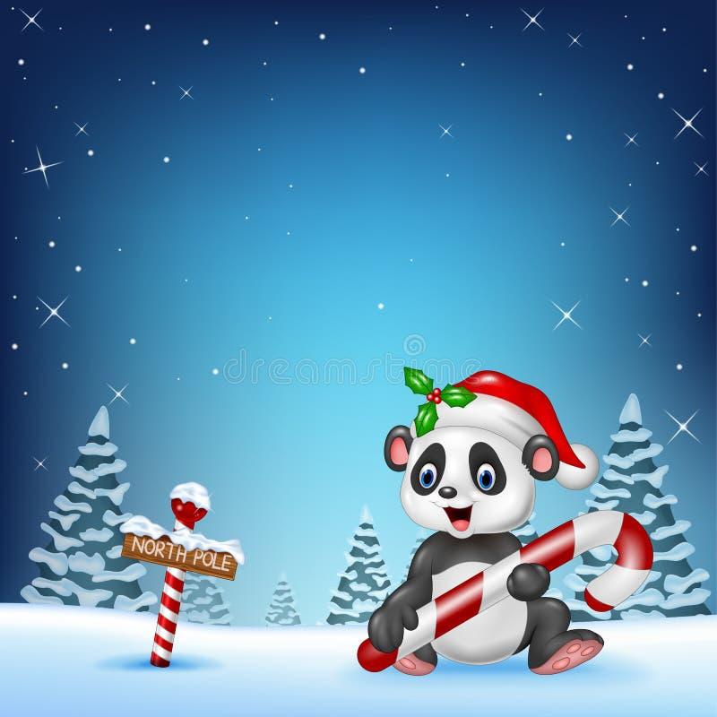 Roligt pandasammanträde för tecknad film med nordpolenett trätecken royaltyfri illustrationer