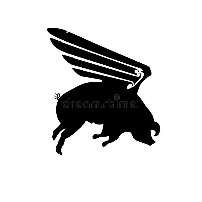 Roligt piggy för kontur med vingar som flyger, svinmodell, svartvit vektorillustration stock illustrationer