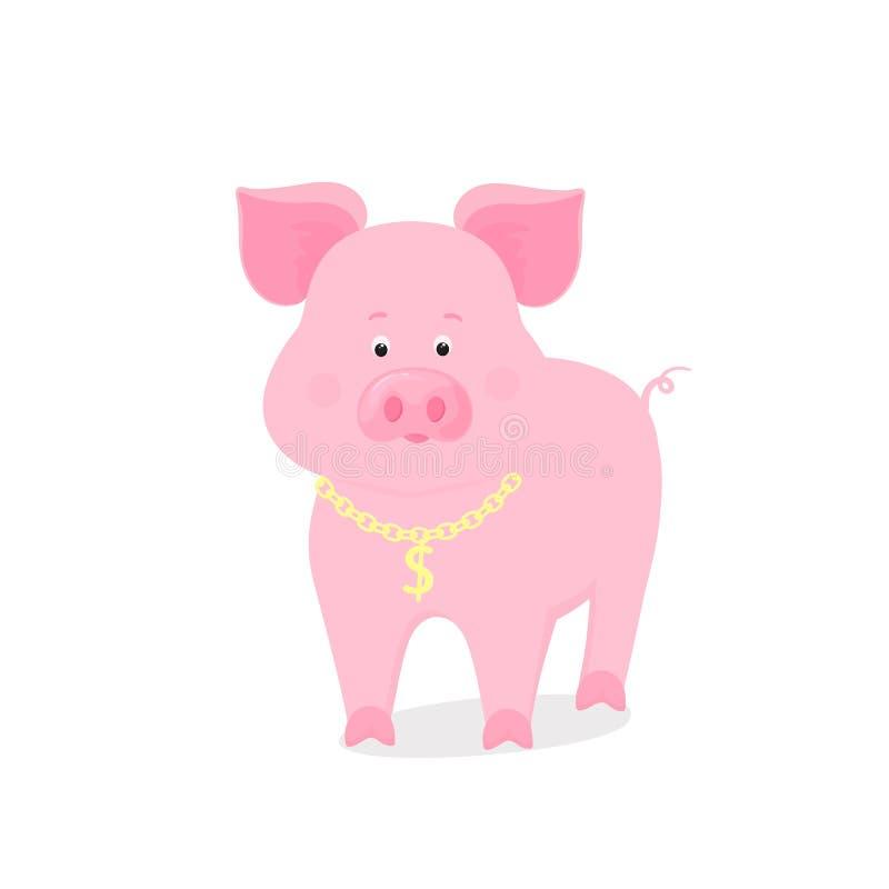Roligt piggy symbol av det kinesiska nya året 2019 Gulligt svin med en guld- kedja och en dollarsymbol stock illustrationer