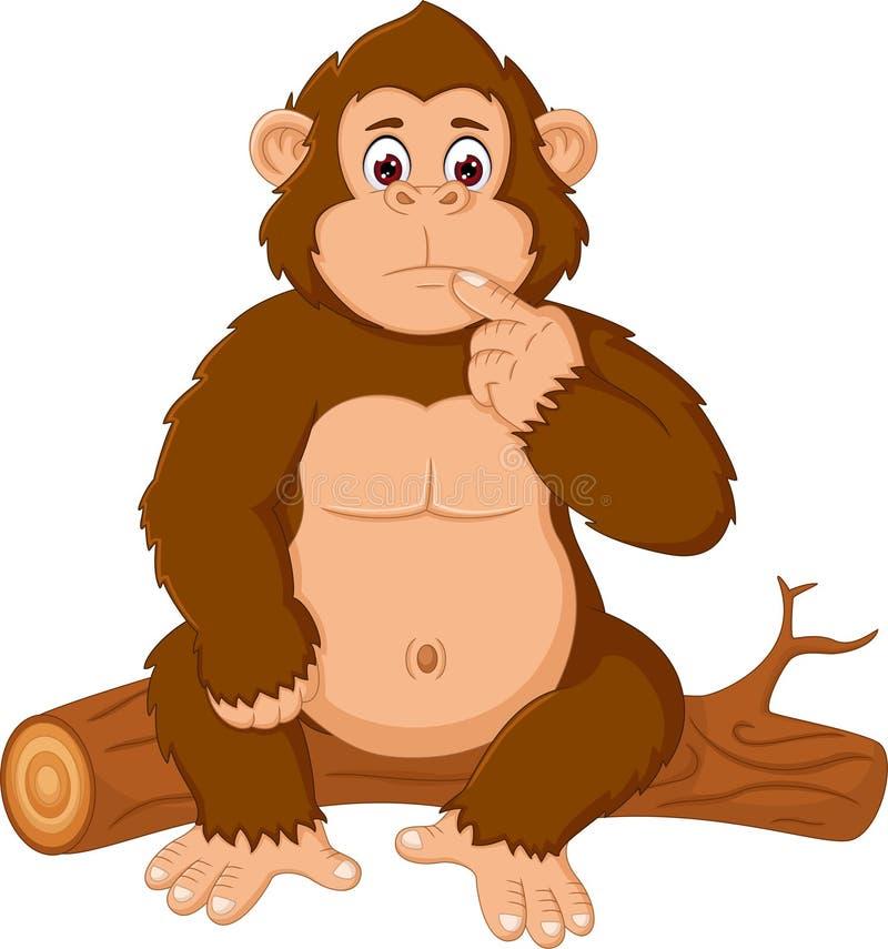 Roligt sitta för gorillatecknad film som är förvirrat på trä royaltyfri illustrationer