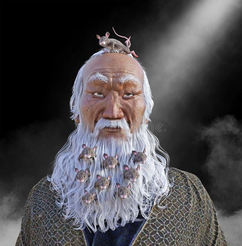 Roligt skägg som trängas ihop med möss royaltyfri fotografi