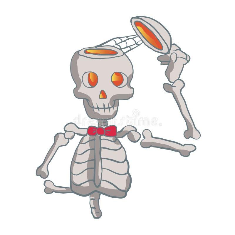 Roligt skelett med bowtie royaltyfri illustrationer