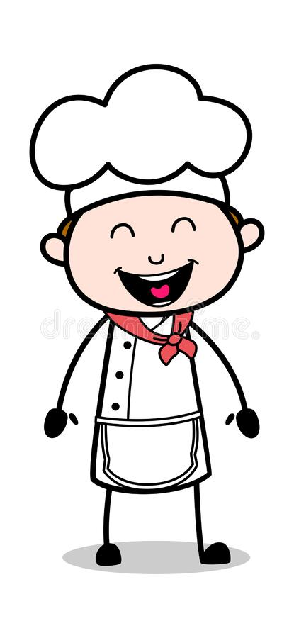 Roligt skratta - tecknad filmuppassareMale Chef Vector illustration vektor illustrationer