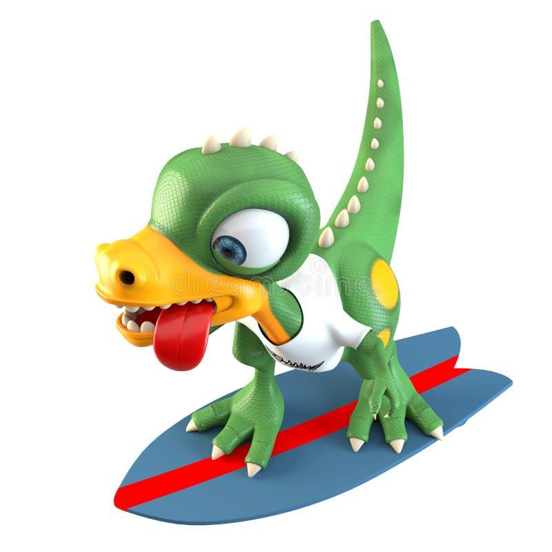 Roligt surfa för dinosaurietecken vektor illustrationer
