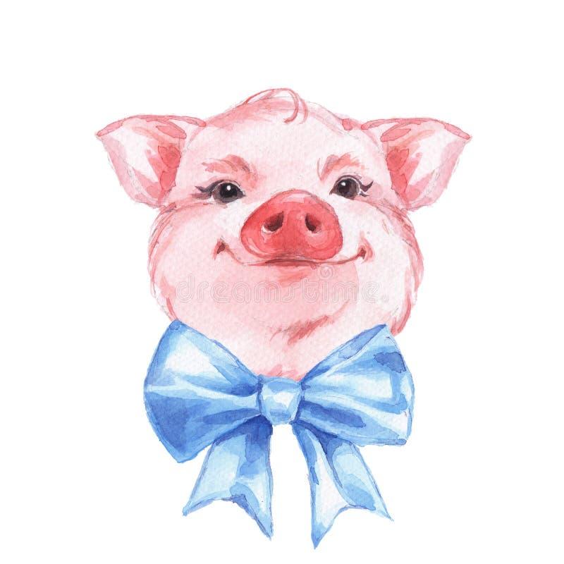 Roligt svin och pilbåge Gullig vattenfärg royaltyfri illustrationer