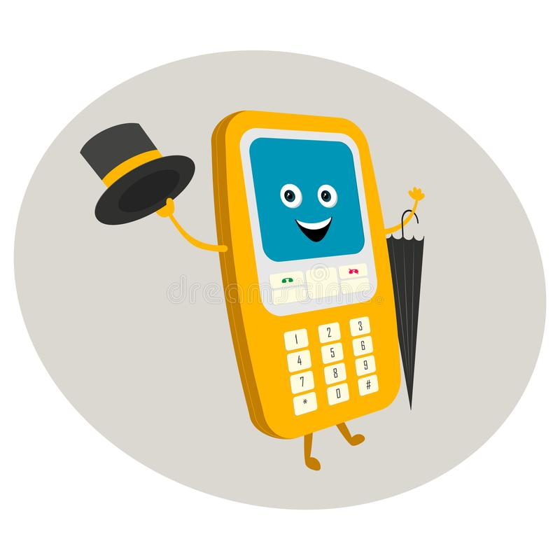 Roligt tecken av en gammal telefon med knappar stock illustrationer