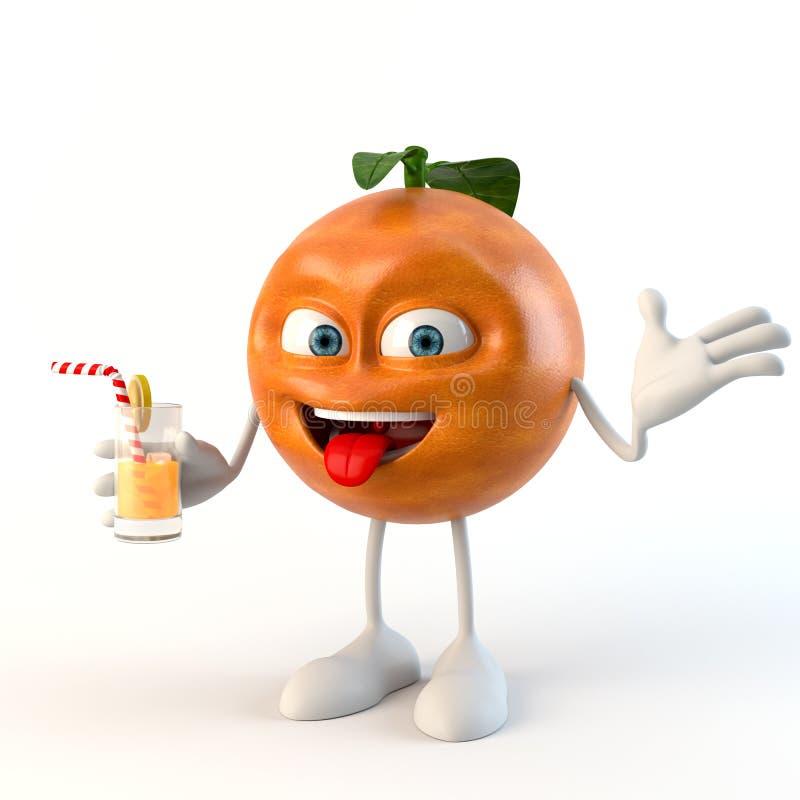 Roligt tecken för frukt 3d med drycken royaltyfri illustrationer