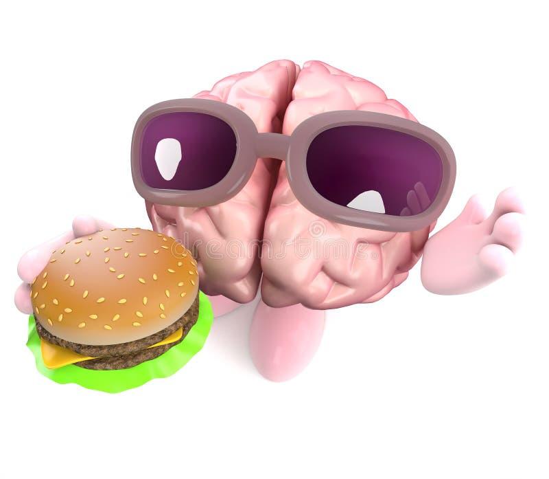 Roligt tecken för mänsklig hjärna för tecknad film som 3d äter ett ostburgaremellanmål royaltyfri illustrationer