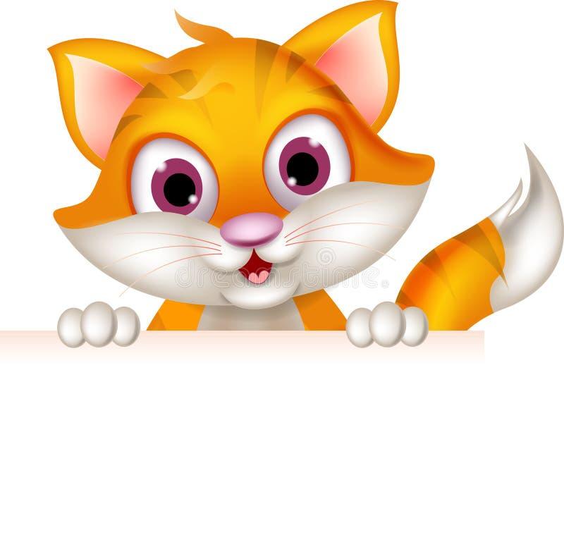 Roligt tecken för mellanrum för katttecknad filminnehav royaltyfri illustrationer