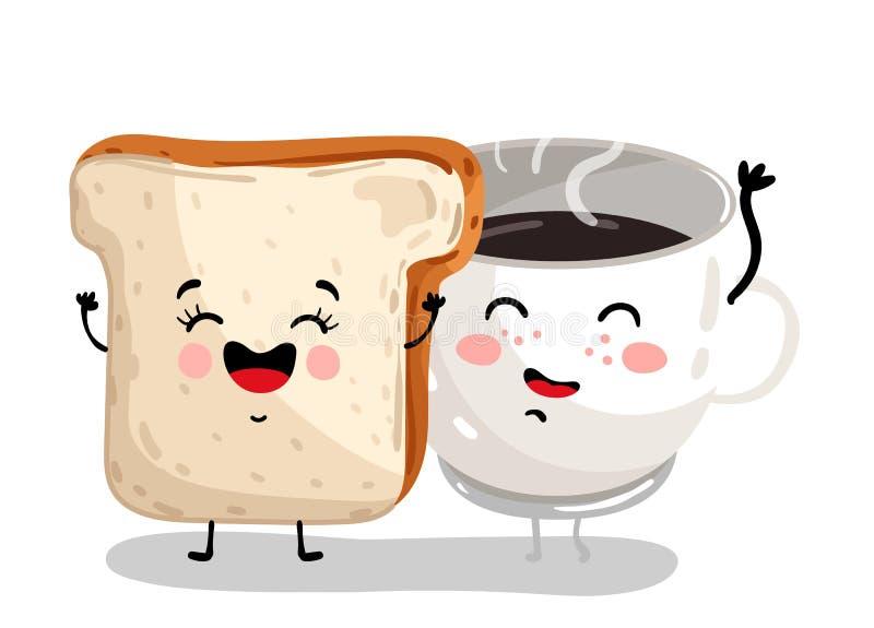 Roligt tecken för tecknad film för rostat brödbröd- och kaffekopp royaltyfri illustrationer