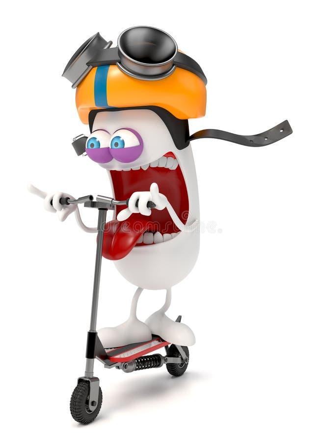 Roligt tecken som rider en sparkcykel royaltyfri illustrationer