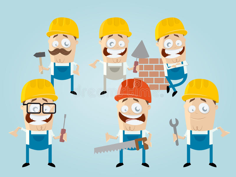 Roligt tecknad filmbyggnadsarbetarelag vektor illustrationer