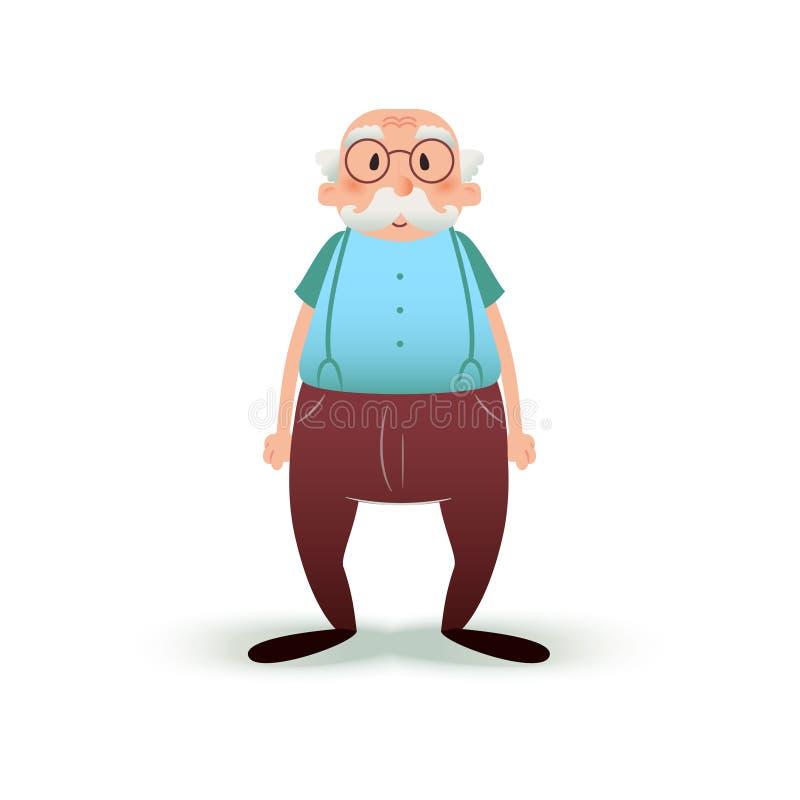 Roligt tecknad filmgamal mantecken Pensionär i exponeringsglas och med en mustasch Farfarillustration på vit stock illustrationer