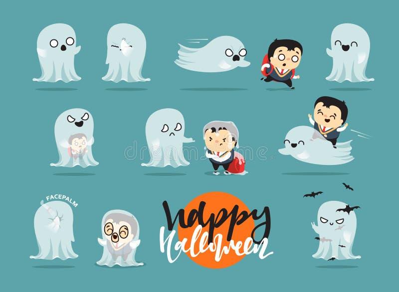 Roligt tecknad filmskolpojketecken och spökar, vektor illustrationer