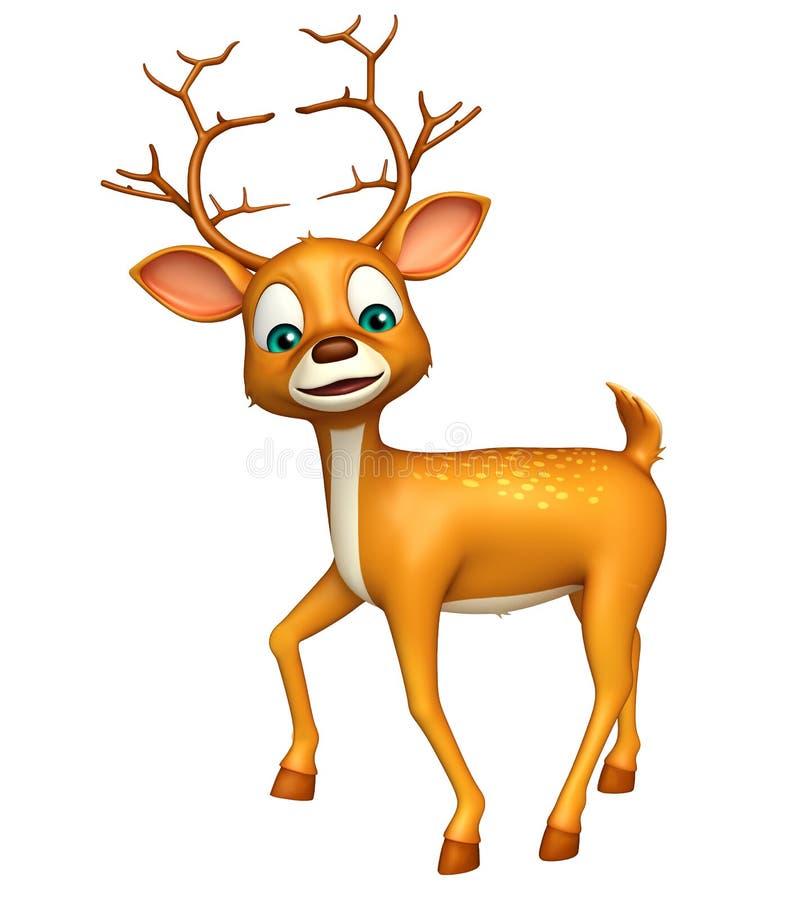 Roligt tecknad filmtecken för gulliga hjortar stock illustrationer