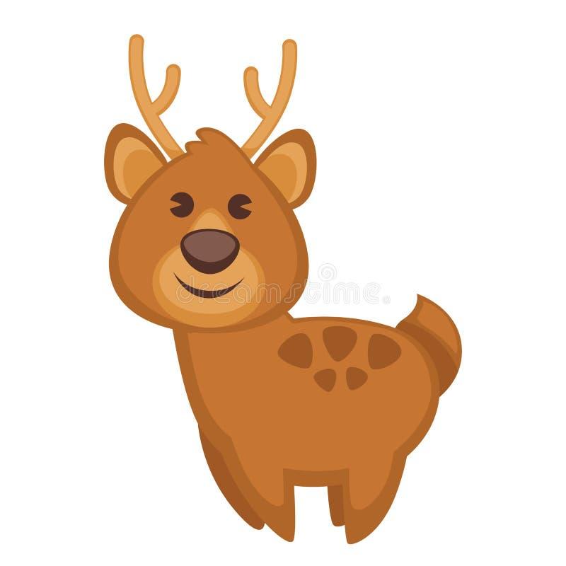 Roligt tecknad filmtecken för hjortar Gullig symbol royaltyfri illustrationer