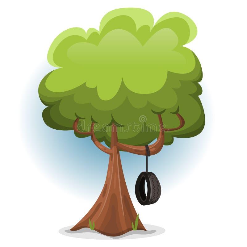 Roligt vårträd med gungagummihjulet royaltyfri illustrationer