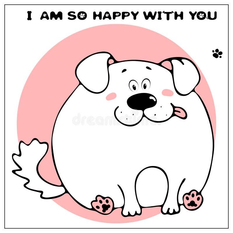 Roligt vektorhälsningkort med den gulliga feta tecknad filmhunden och uttryck : Enkel komiker stock illustrationer