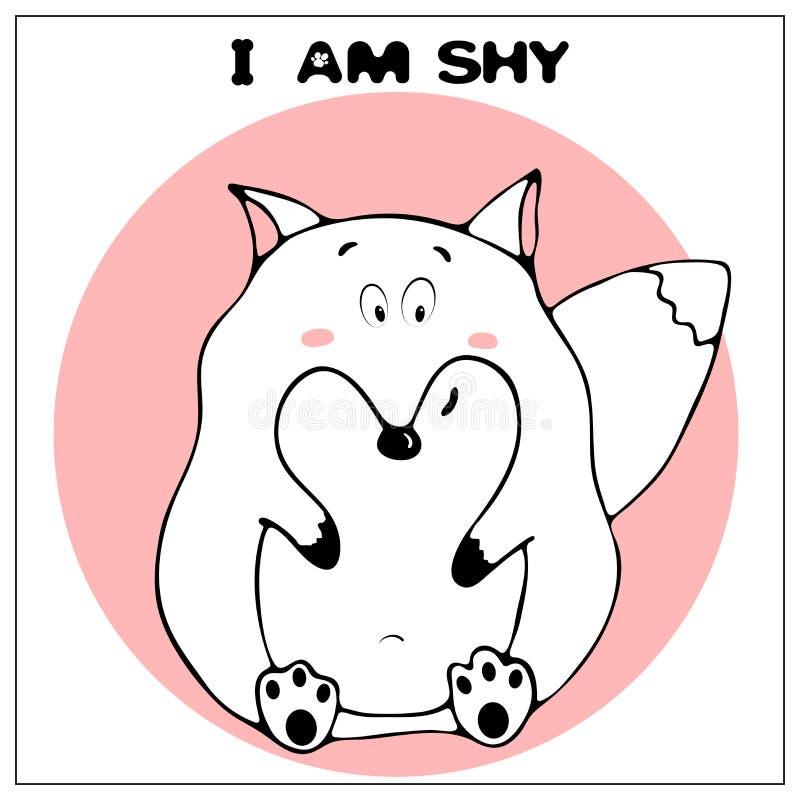 Roligt vektorhälsningkort med den gulliga feta tecknad filmräven och uttryck : Enkel komiker stock illustrationer