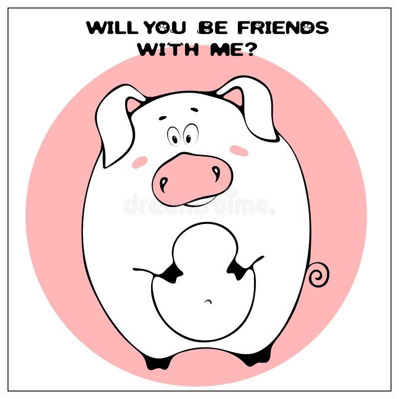 Roligt vektorhälsningkort med det gulliga feta tecknad filmsvinet och uttryck : Enkel komiker vektor illustrationer