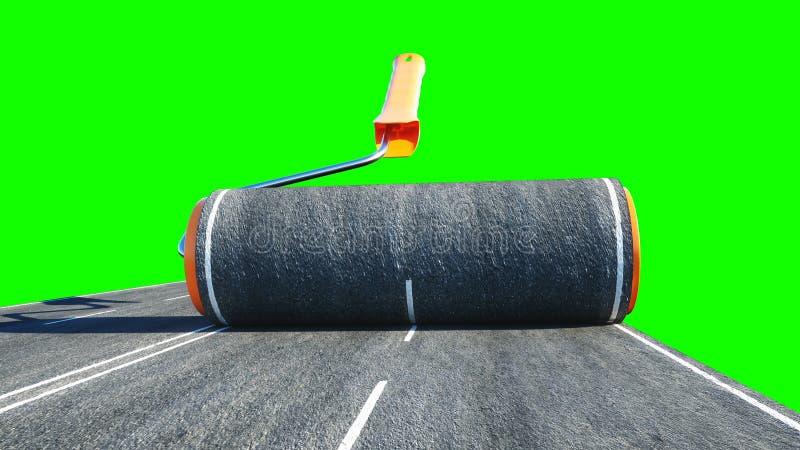 Rolka asfalt Muśnięcie droga niebieski blisko drzwi windy pejzaż towarowy namalował pracownika Zielony ekran odizolowywa świadcze zdjęcie stock