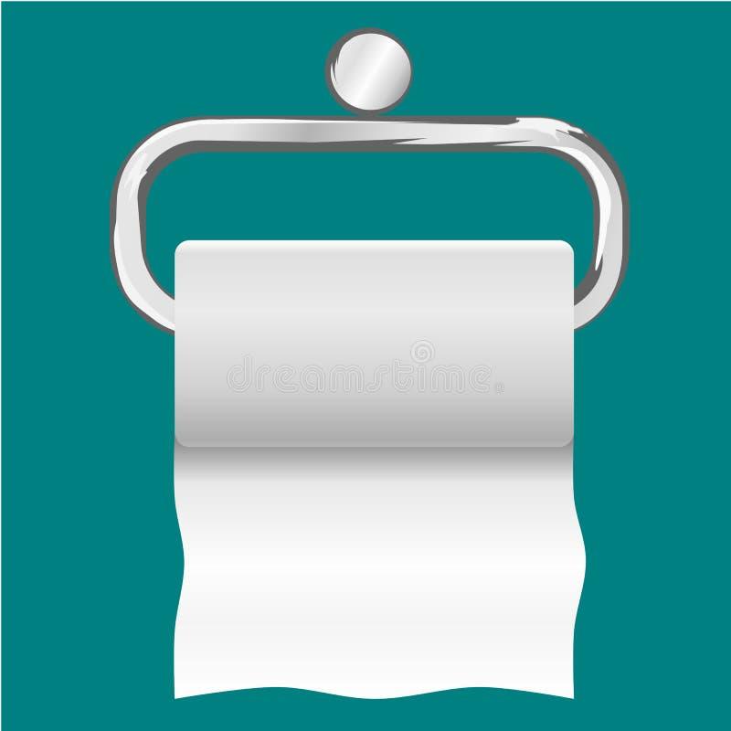Rolka biały papieru toaletowego obwieszenie na chrom toaletowej rolce royalty ilustracja