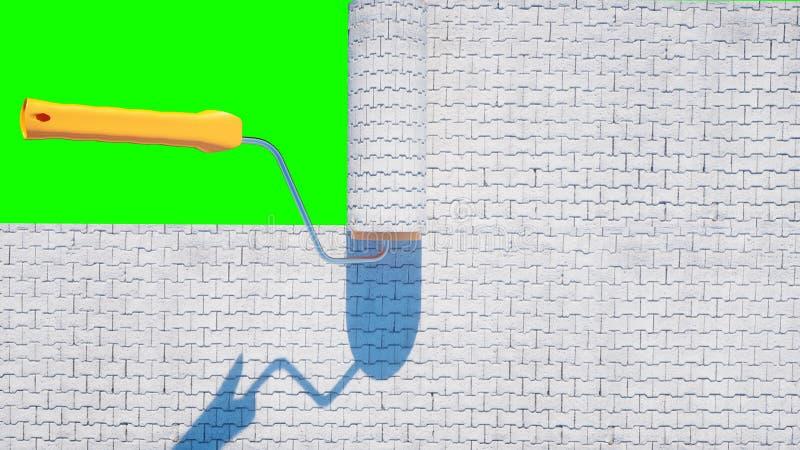 Rolka brukowa cegiełka Muśnięcie brukowa cegiełka budynku architektoniczny pojęcie mój osobisty projekt Zielony ekran odizolowywa obraz stock
