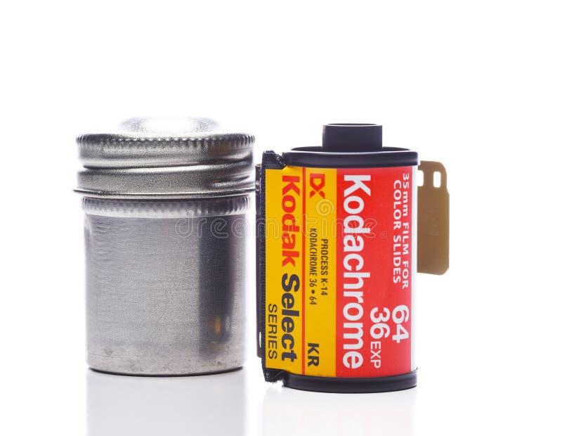 Rolka Kodachrome 64 filmu 36 ujawnienie z metalu kanisterem zdjęcia royalty free