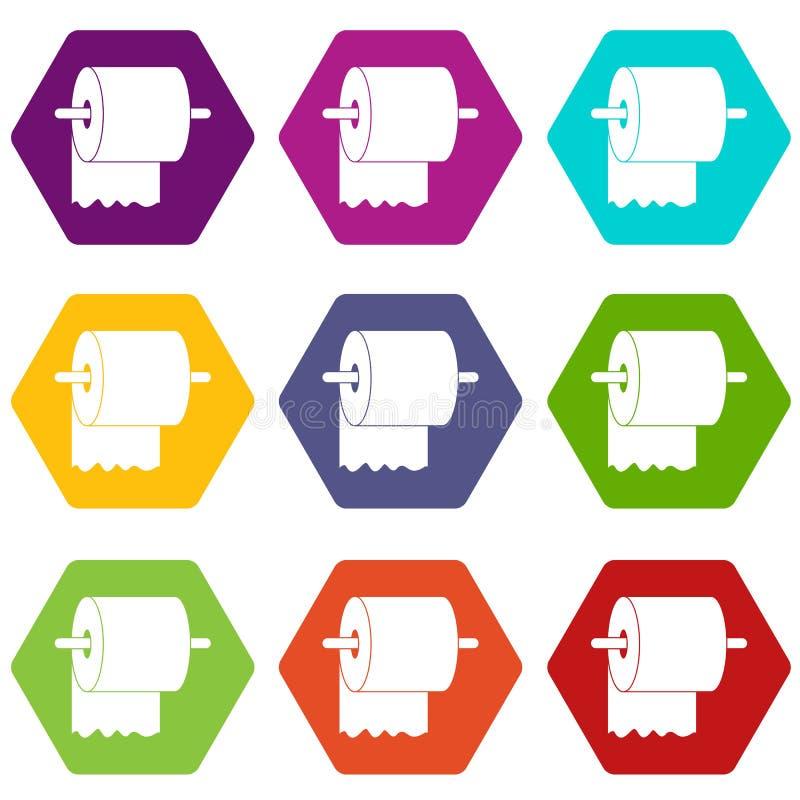 Rolka papier toaletowy na właściciel ikony koloru ustalonym sześcioboku ilustracja wektor