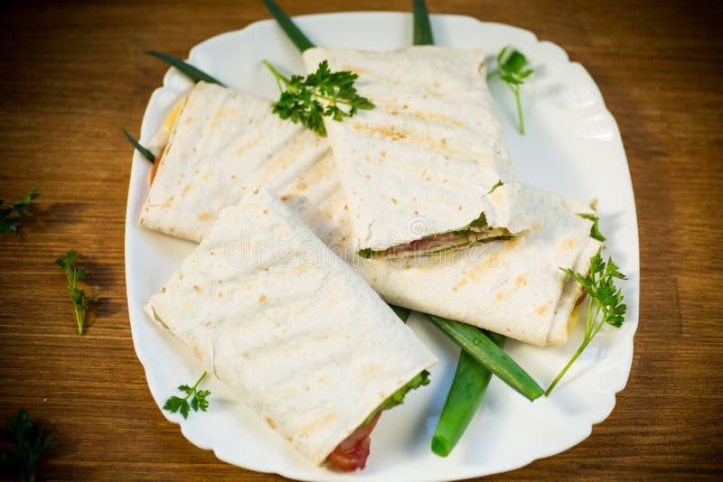 Rolka pita z liśćmi, zieleniami i kiełbasą w talerzu sałaty, obrazy royalty free