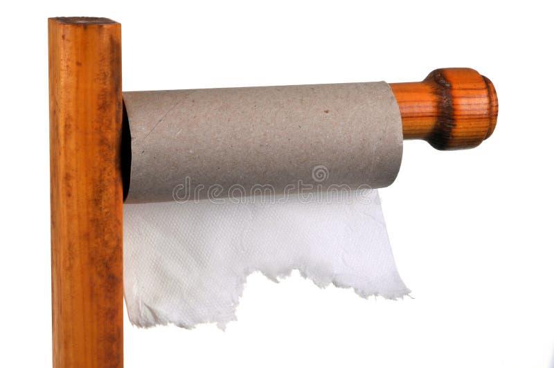 Rolka skończony papier toaletowy na swój poparciu obrazy royalty free