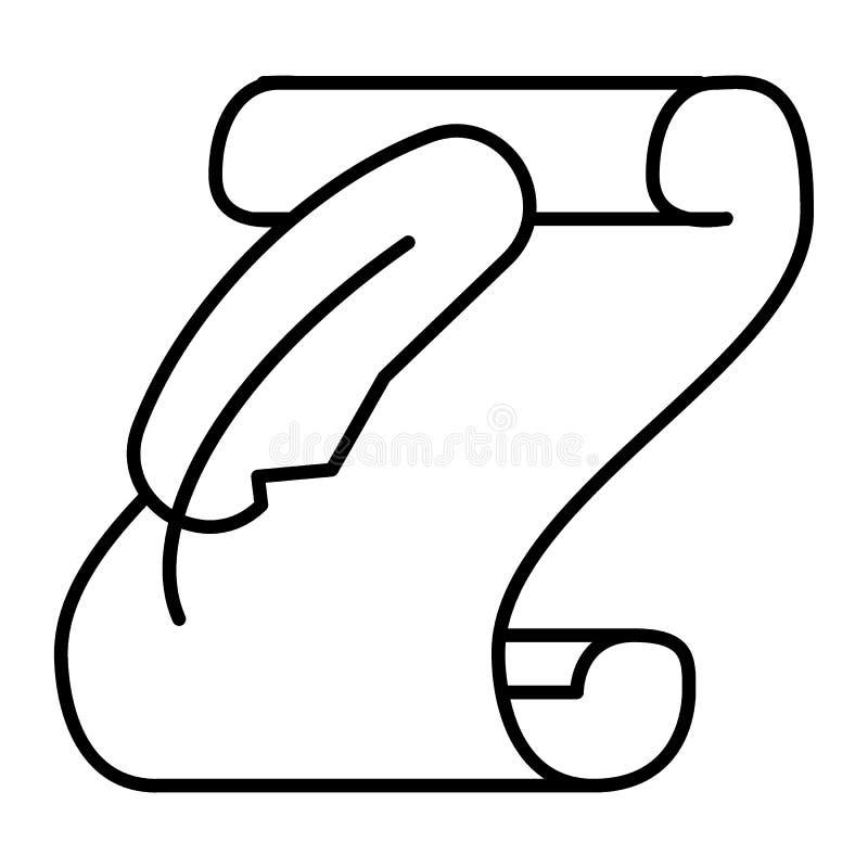 Rolka stara papieru i piórka cienka kreskowa ikona Manuskryptu i dutki wektorowa ilustracja odizolowywająca na bielu Ślimacznica  ilustracja wektor