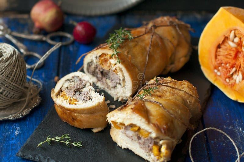 Rolka z banią piec Wyśmienicie zdrowy lunch w jesieni fotografia stock
